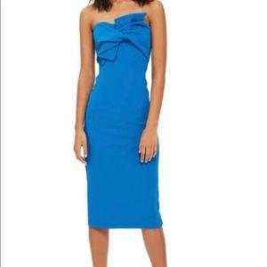 Topshop bow front twist midi dress